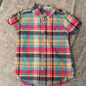Ralph Lauren plaid buttoned down shirt boys 7